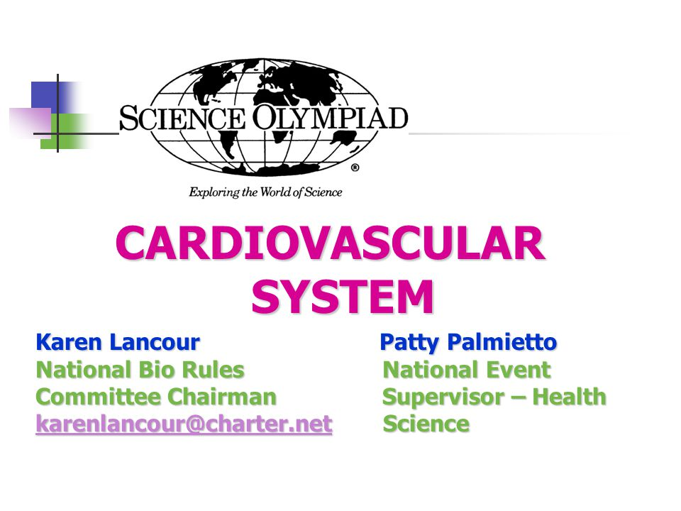 CARDIOVASCULAR SYSTEM Karen Lancour Patty Palmietto National Bio Rules National Event Committee Chairman Supervisor – Health karenlancour@charter.netkarenlancour@charter.net Science karenlancour@charter.net