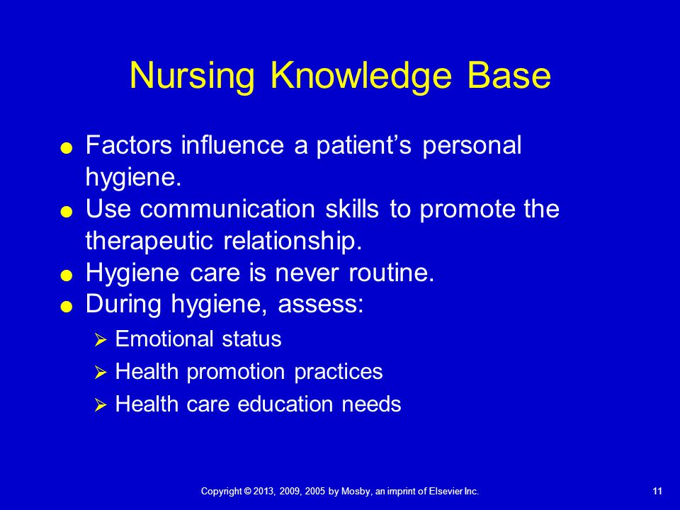 11Copyright © 2013, 2009, 2005 by Mosby, an imprint of Elsevier Inc. Nursing Knowledge Base  Factors influence a patient's personal hygiene.  Use co