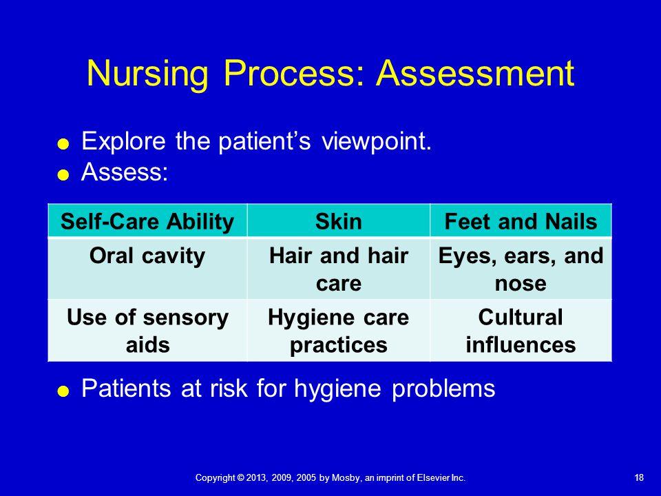 18Copyright © 2013, 2009, 2005 by Mosby, an imprint of Elsevier Inc. Nursing Process: Assessment  Explore the patient's viewpoint.  Assess:  Patien