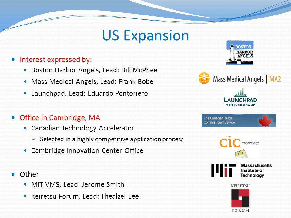 US Expansion Interest expressed by: Boston Harbor Angels, Lead: Bill McPhee Mass Medical Angels, Lead: Frank Bobe Launchpad, Lead: Eduardo Pontoriero
