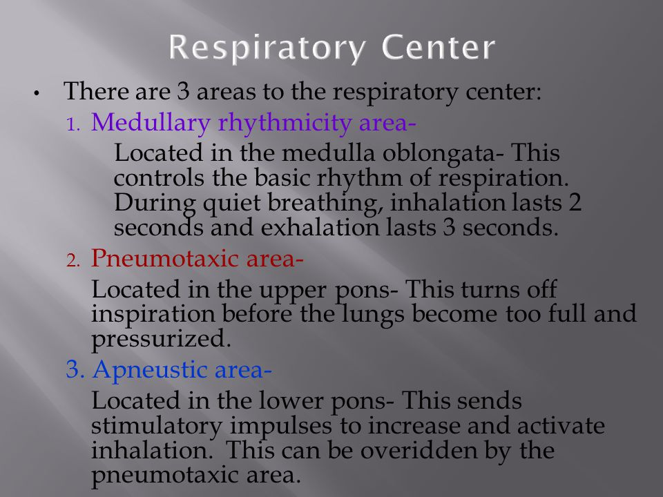 There are 3 areas to the respiratory center: 1.