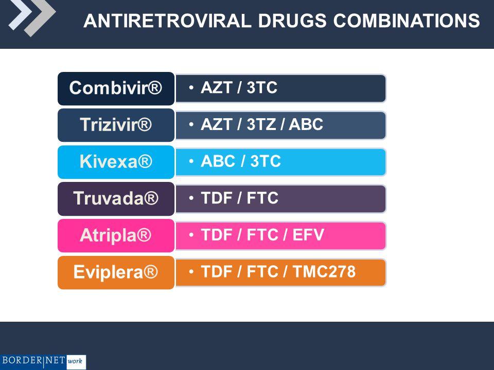 ANTIRETROVIRAL DRUGS COMBINATIONS AZT / 3TC Combivir® AZT / 3TZ / ABC Trizivir® ABC / 3TC Kivexa® TDF / FTC Truvada® TDF / FTC / EFV Atripla® TDF / FTC / TMC278 Eviplera®