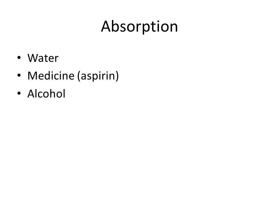 Absorption Water Medicine (aspirin) Alcohol