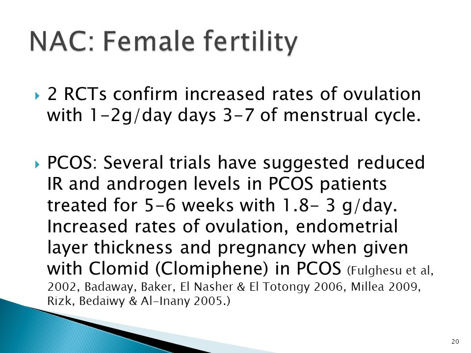  2 RCTs confirm increased rates of ovulation with 1-2g/day days 3-7 of menstrual cycle.  PCOS: Several trials have suggested reduced IR and androgen