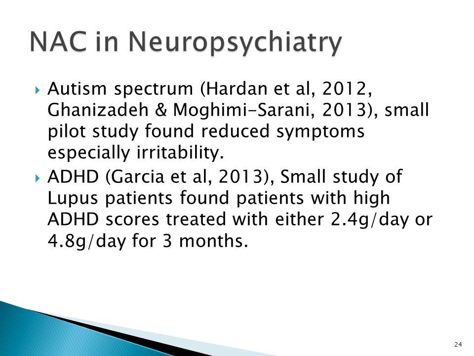  Autism spectrum (Hardan et al, 2012, Ghanizadeh & Moghimi-Sarani, 2013), small pilot study found reduced symptoms especially irritability.  ADHD (G