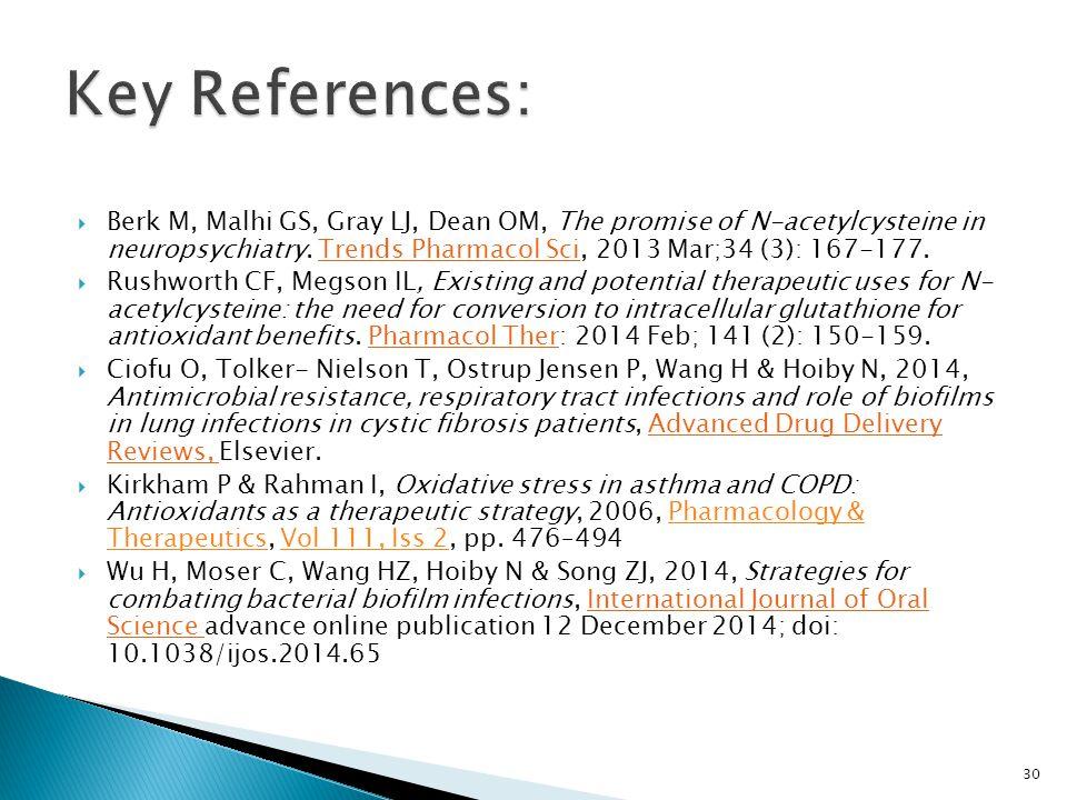  Berk M, Malhi GS, Gray LJ, Dean OM, The promise of N-acetylcysteine in neuropsychiatry. Trends Pharmacol Sci, 2013 Mar;34 (3): 167-177.  Rushworth