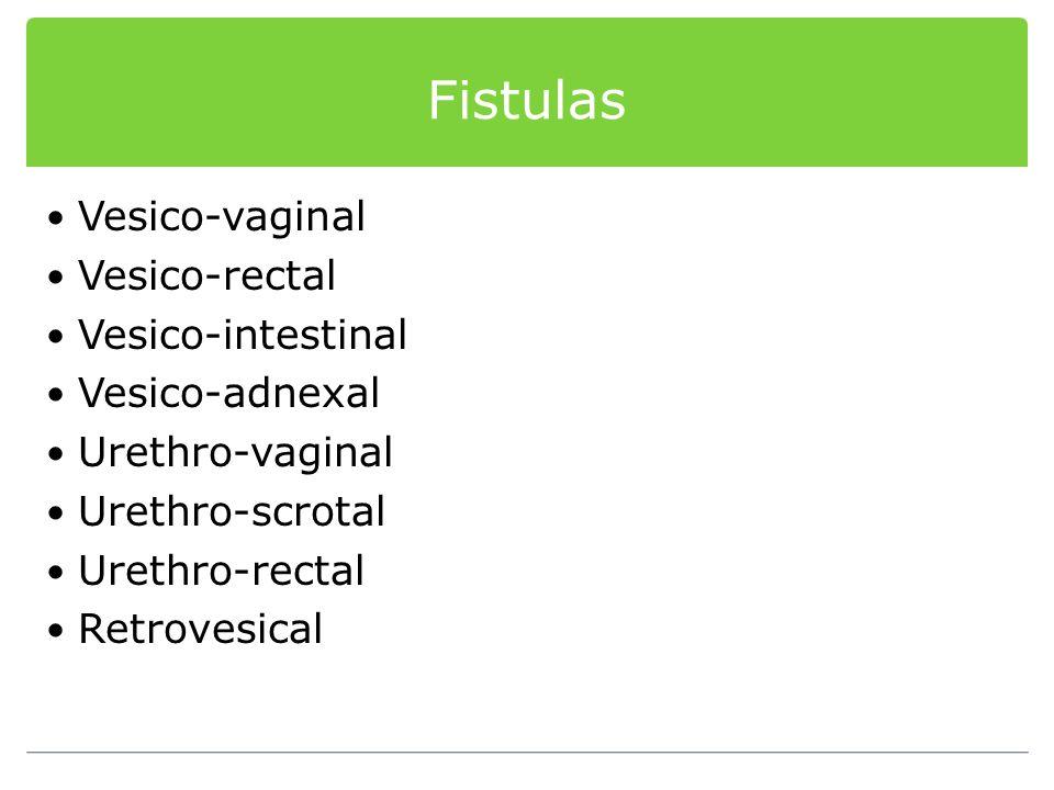 Vesico-vaginal Vesico-rectal Vesico-intestinal Vesico-adnexal Urethro-vaginal Urethro-scrotal Urethro-rectal Retrovesical