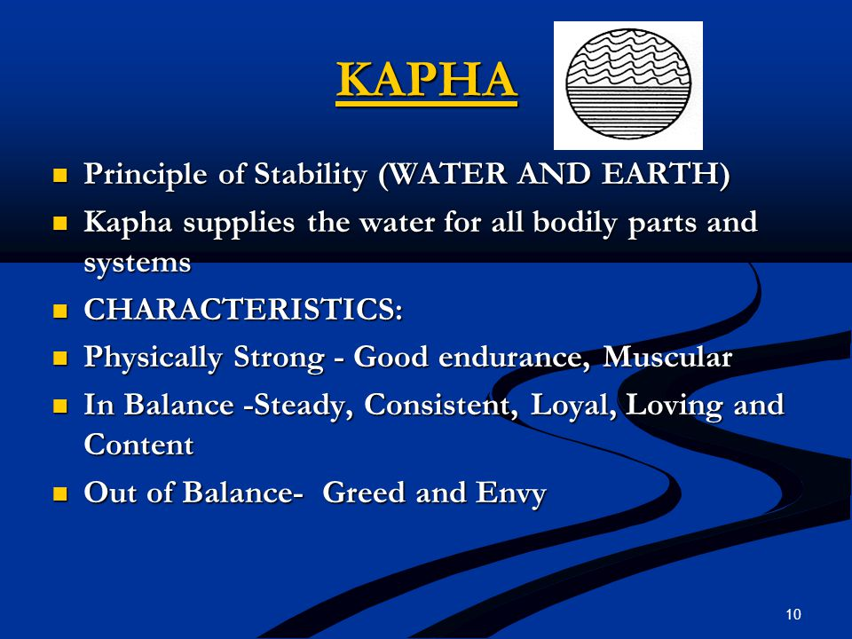 KAPHA Principle of Stability (WATER AND EARTH) Principle of Stability (WATER AND EARTH) Kapha supplies the water for all bodily parts and systems Kaph