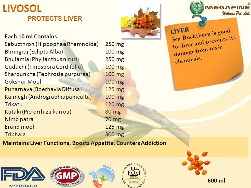 Each Capsule contains: Sea Buckthorn (Hippophae Rhamnoide) 100 mg Vidarikand (Bacopa Monnieri) 100 mg Shatavari(Asparagus Racemosus) 50 mg Kawachbeej (Picrorhiza kurroa ex benth.) 100 mg Aswagandha (Myristica fragrans) 100 mg Chopchini (Convolvulus Pluricaulis) 50 mg Vidang (Acorus calamus Linn) 80 mg Guduchi Satva (Tinospora Cordifolia) 20 mg 60 Cap