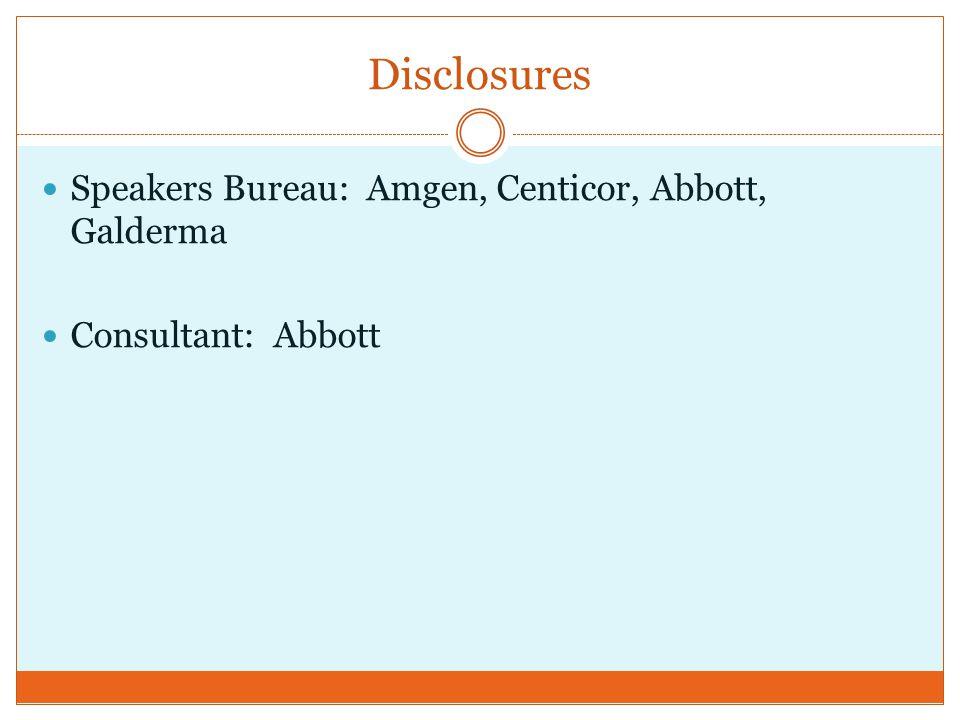 Disclosures Speakers Bureau: Amgen, Centicor, Abbott, Galderma Consultant: Abbott