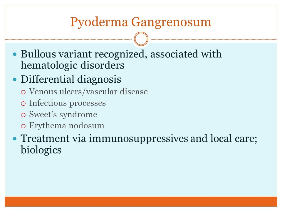 Pyoderma Gangrenosum Bullous variant recognized, associated with hematologic disorders Differential diagnosis  Venous ulcers/vascular disease  Infec