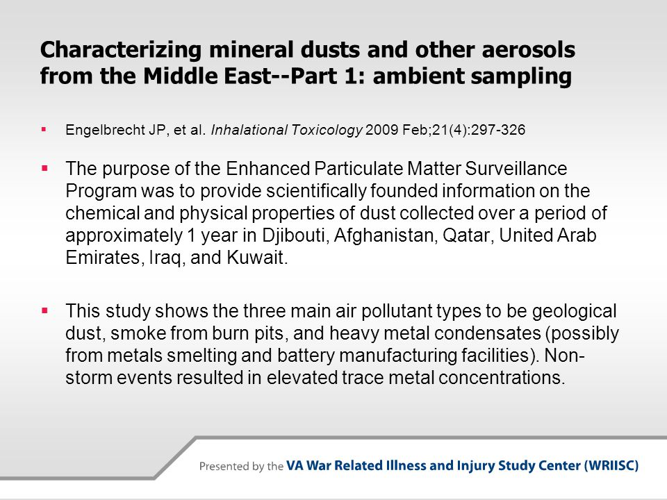 Characterizing mineral dusts and other aerosols from the Middle East--Part 1: ambient sampling  Engelbrecht JP, et al. Inhalational Toxicology 2009 F