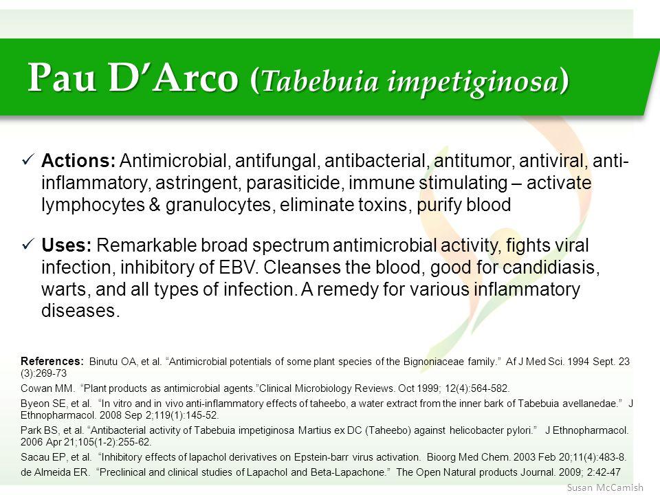 Actions: Antimicrobial, antifungal, antibacterial, antitumor, antiviral, anti- inflammatory, astringent, parasiticide, immune stimulating – activate l