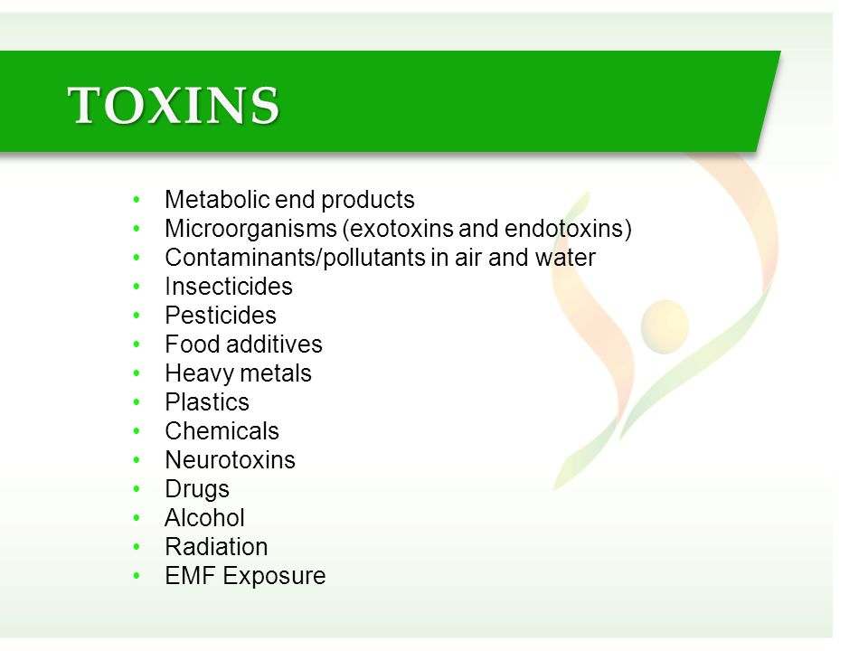 Metabolic end products Microorganisms (exotoxins and endotoxins) Contaminants/pollutants in air and water Insecticides Pesticides Food additives Heavy