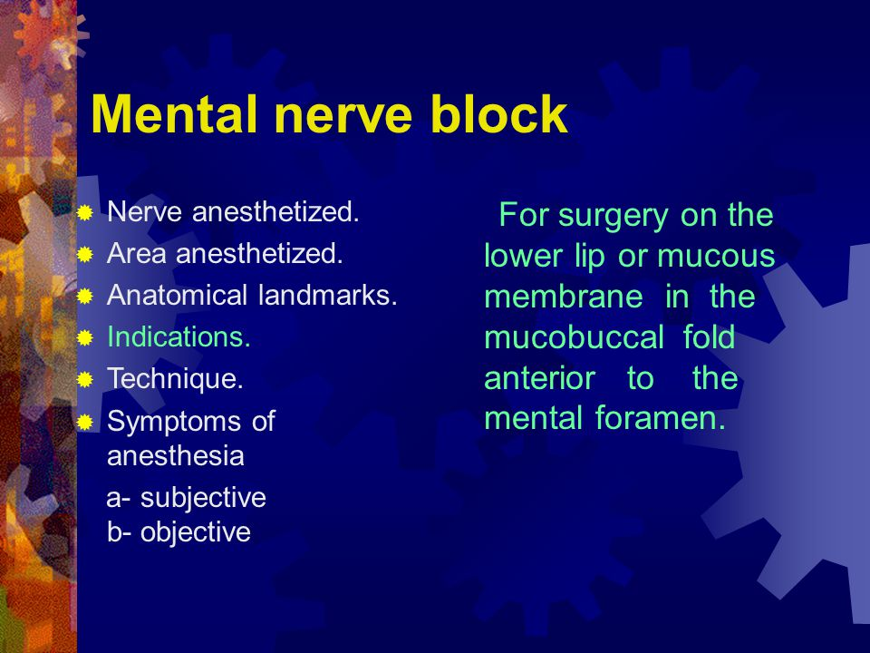 Mental nerve block  Nerve anesthetized. Area anesthetized.