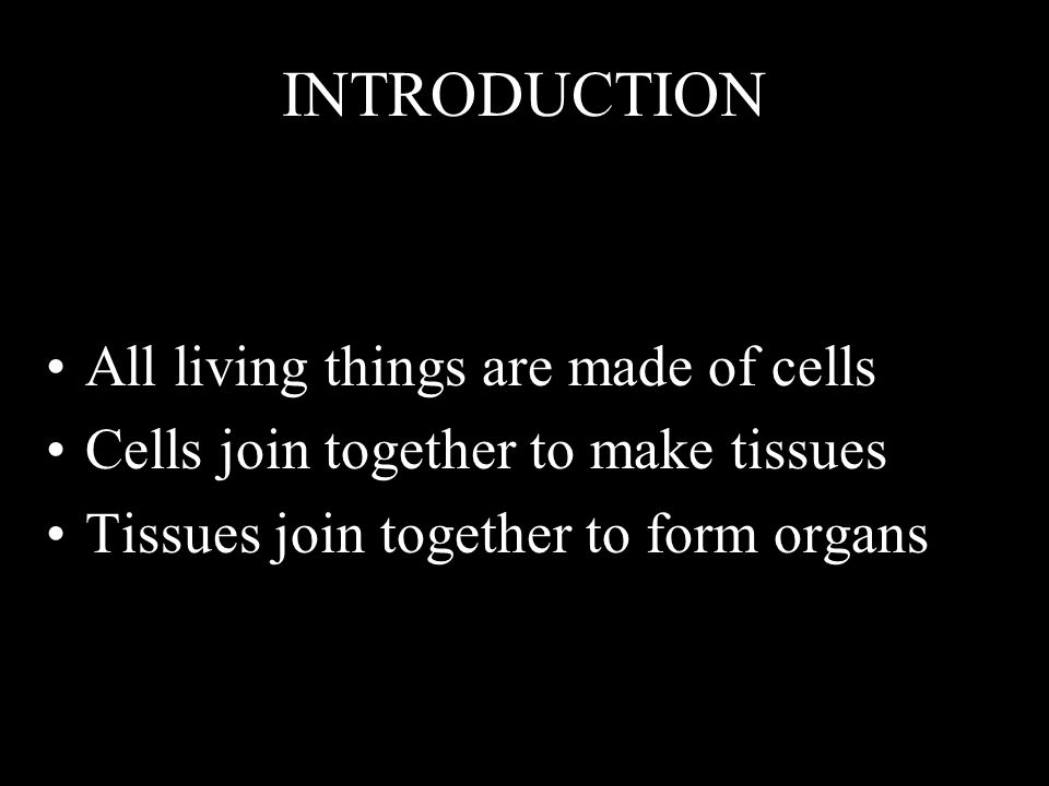 INTRODUCTION All living things are made of cells Cells join together to make tissues Tissues join together to form organs