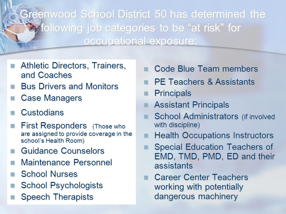 Greenwood School District 50 has determined the following job categories to be at risk for occupational exposure: Greenwood School District 50 has determined the following job categories to be at risk for occupational exposure: Athletic Directors, Trainers, and Coaches Athletic Directors, Trainers, and Coaches Bus Drivers and Monitors Bus Drivers and Monitors Case Managers Case Managers Custodians Custodians First Responders (Those who are assigned to provide coverage in the school's Health Room) First Responders (Those who are assigned to provide coverage in the school's Health Room) Guidance Counselors Guidance Counselors Maintenance Personnel Maintenance Personnel School Nurses School Nurses School Psychologists School Psychologists Speech Therapists Speech Therapists Code Blue Team members PE Teachers & Assistants Principals Assistant Principals School Administrators (if involved with discipline) Health Occupations Instructors Special Education Teachers of EMD, TMD, PMD, ED and their assistants Career Center Teachers working with potentially dangerous machinery