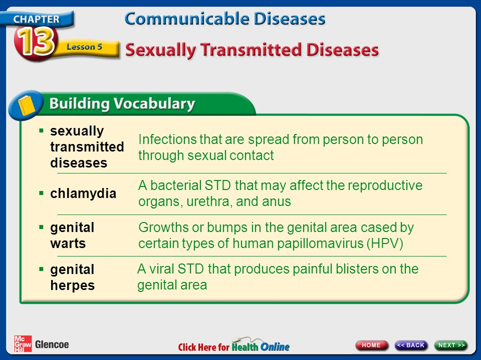  sexually transmitted diseases Infections that are spread from person to person through sexual contact A bacterial STD that may affect the reproducti