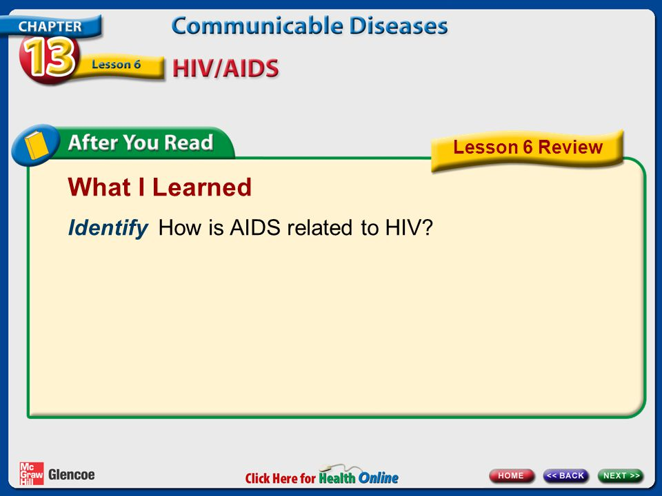 What I Learned Identify How is AIDS related to HIV? Lesson 6 Review