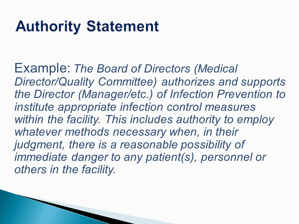 Authority Statement Example: The Board of Directors (Medical Director/Quality Committee) authorizes and supports the Director (Manager/etc.) of Infect