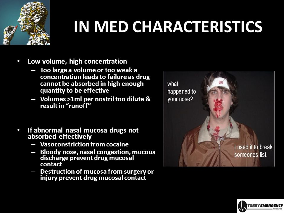 IN MED CHARACTERISTICS Low volume, high concentration – Too large a volume or too weak a concentration leads to failure as drug cannot be absorbed in