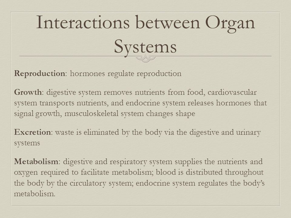Interactions between Organ Systems Reproduction: hormones regulate reproduction Growth: digestive system removes nutrients from food, cardiovascular s