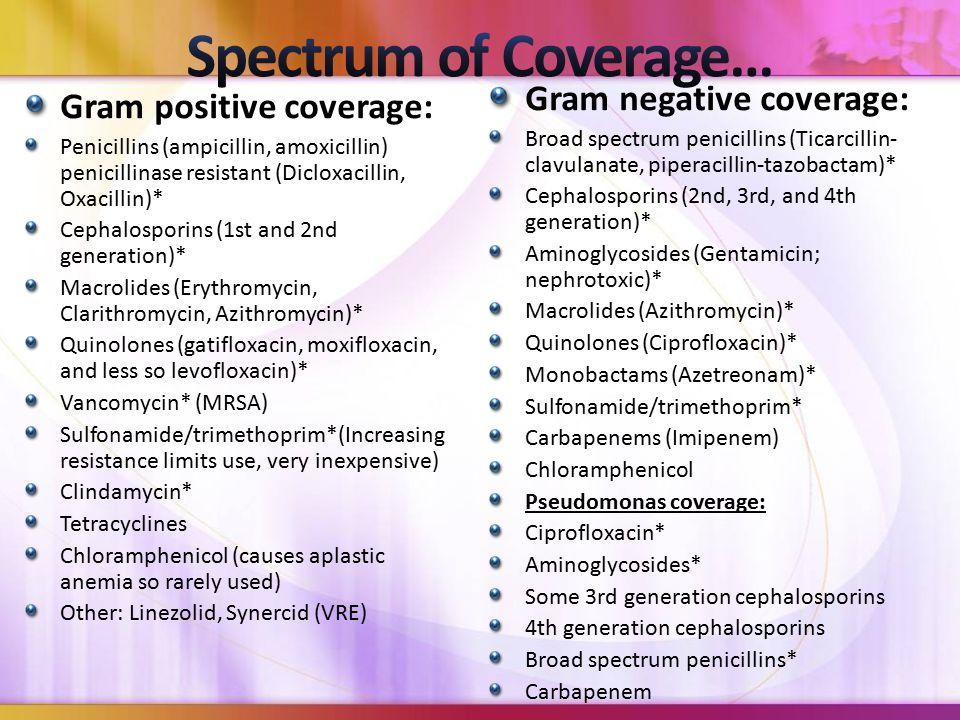 Gram positive coverage: Penicillins (ampicillin, amoxicillin) penicillinase resistant (Dicloxacillin, Oxacillin)* Cephalosporins (1st and 2nd generation)* Macrolides (Erythromycin, Clarithromycin, Azithromycin)* Quinolones (gatifloxacin, moxifloxacin, and less so levofloxacin)* Vancomycin* (MRSA) Sulfonamide/trimethoprim*(Increasing resistance limits use, very inexpensive) Clindamycin* Tetracyclines Chloramphenicol (causes aplastic anemia so rarely used) Other: Linezolid, Synercid (VRE) Gram negative coverage: Broad spectrum penicillins (Ticarcillin- clavulanate, piperacillin-tazobactam)* Cephalosporins (2nd, 3rd, and 4th generation)* Aminoglycosides (Gentamicin; nephrotoxic)* Macrolides (Azithromycin)* Quinolones (Ciprofloxacin)* Monobactams (Azetreonam)* Sulfonamide/trimethoprim* Carbapenems (Imipenem) Chloramphenicol Pseudomonas coverage: Ciprofloxacin* Aminoglycosides* Some 3rd generation cephalosporins 4th generation cephalosporins Broad spectrum penicillins* Carbapenem