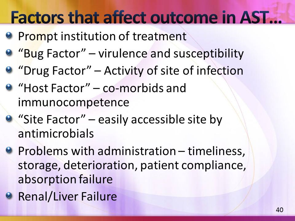 "Prompt institution of treatment ""Bug Factor"" – virulence and susceptibility ""Drug Factor"" – Activity of site of infection ""Host Factor"" – co-morbids a"