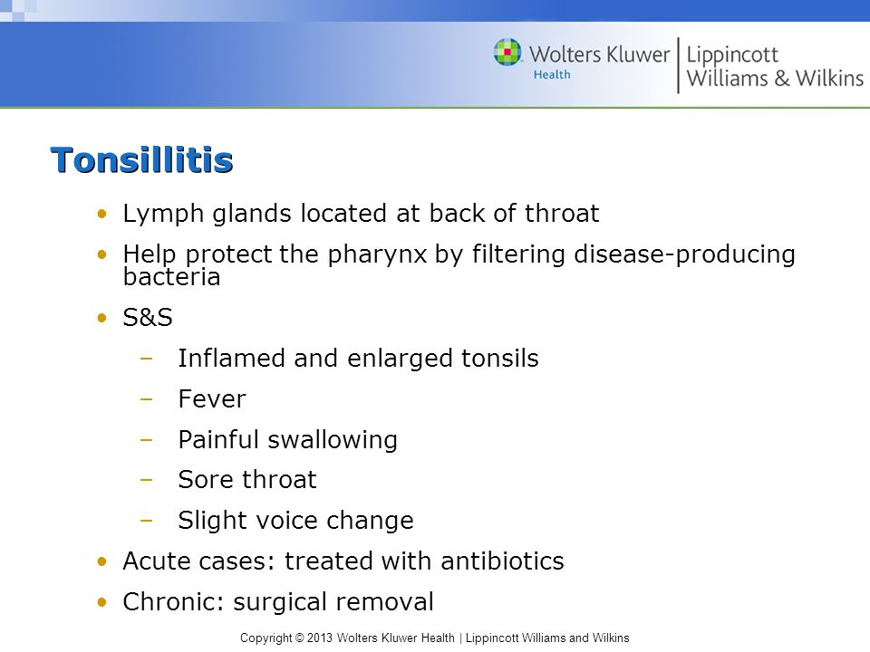 Copyright © 2013 Wolters Kluwer Health | Lippincott Williams and Wilkins Tonsillitis Lymph glands located at back of throat Help protect the pharynx by filtering disease-producing bacteria S&S –Inflamed and enlarged tonsils –Fever –Painful swallowing –Sore throat –Slight voice change Acute cases: treated with antibiotics Chronic: surgical removal