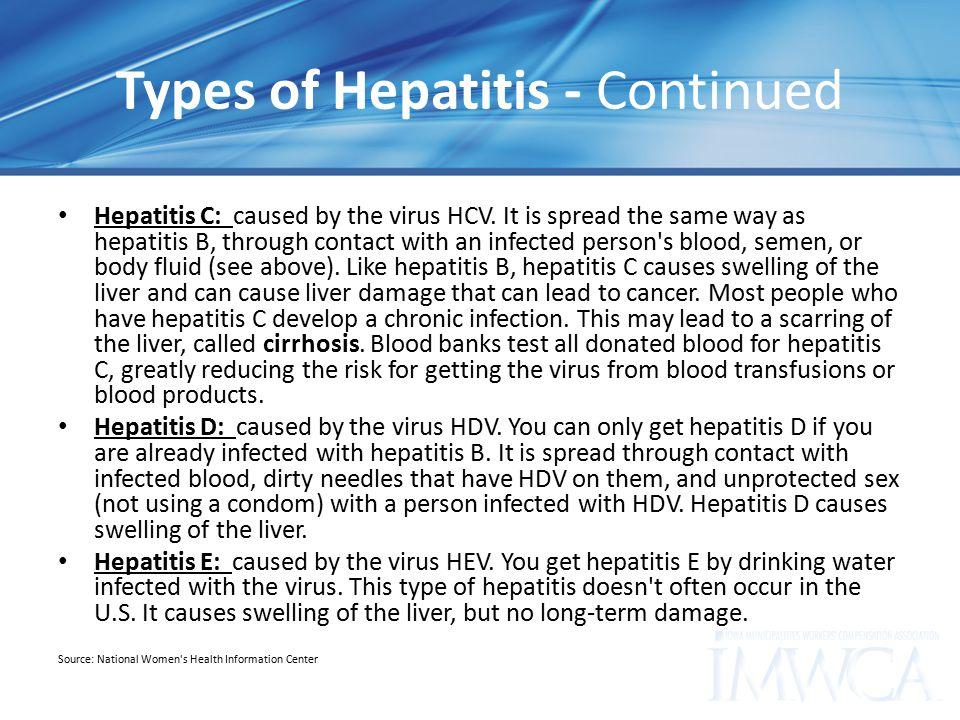 Types of Hepatitis - Continued Hepatitis C: caused by the virus HCV.