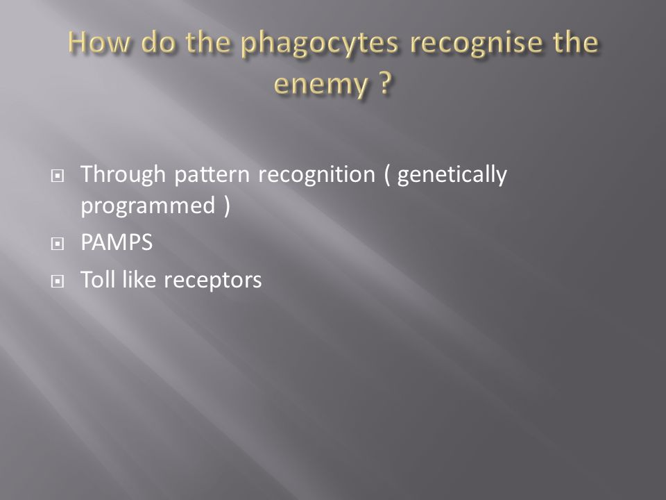  Through pattern recognition ( genetically programmed )  PAMPS  Toll like receptors
