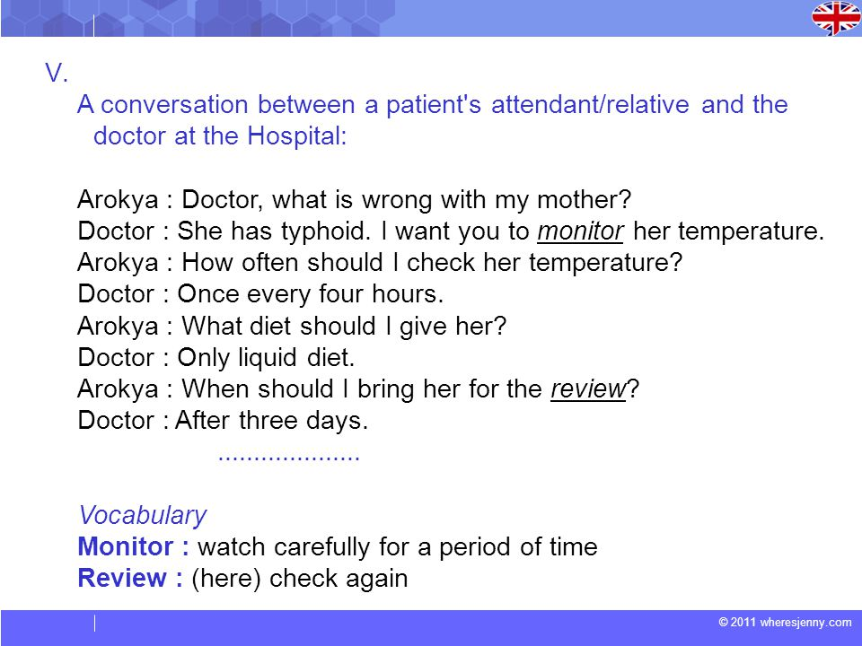© 2011 wheresjenny.com V. A conversation between a patient's attendant/relative and the doctor at the Hospital: Arokya : Doctor, what is wrong with my