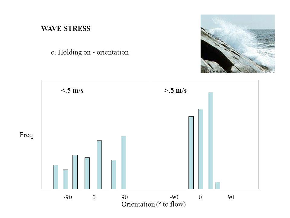 WAVE STRESS c. Holding on - orientation <.5 m/s -90090 >.5 m/s Freq Orientation (º to flow)