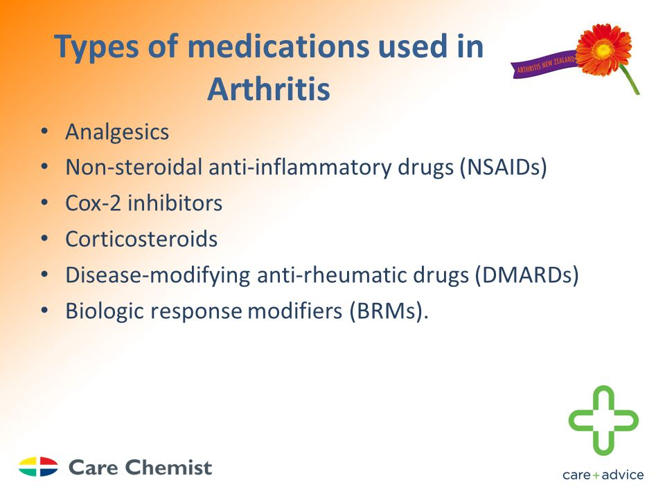 Types of medications used in Arthritis Analgesics Non-steroidal anti-inflammatory drugs (NSAIDs) Cox-2 inhibitors Corticosteroids Disease-modifying anti-rheumatic drugs (DMARDs) Biologic response modifiers (BRMs).