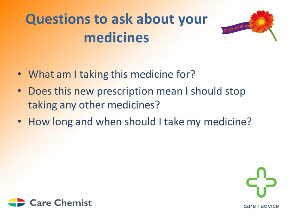 Questions to ask about your medicines What am I taking this medicine for.