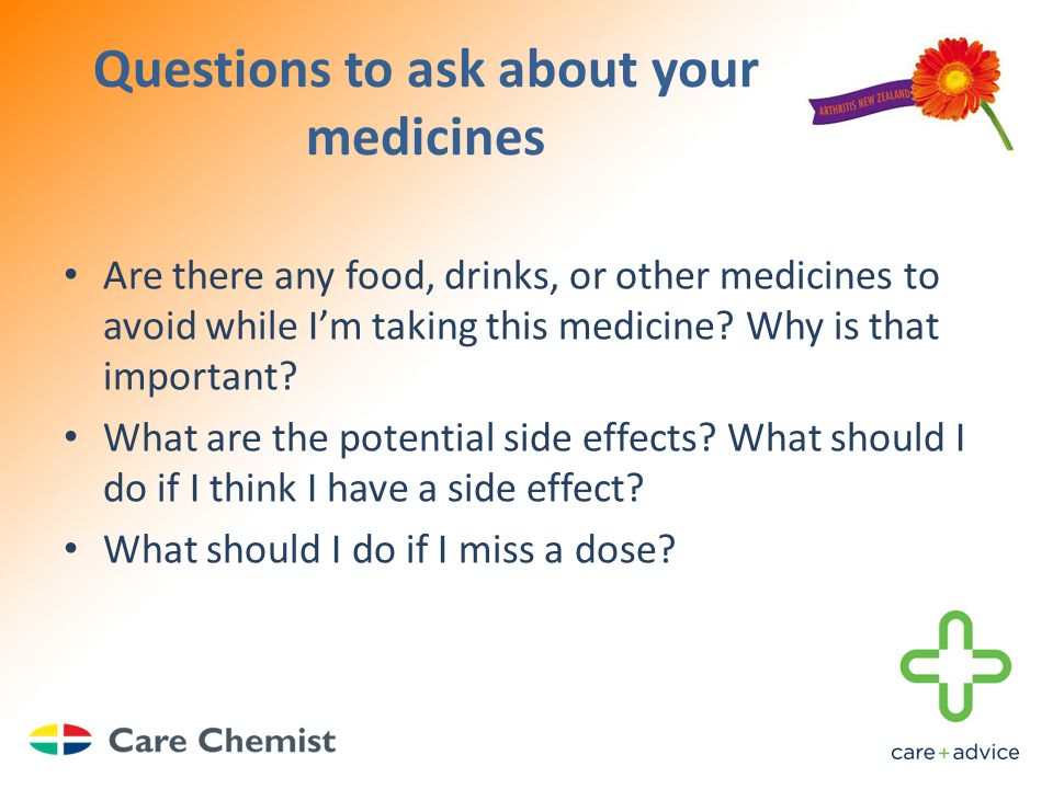 Questions to ask about your medicines Are there any food, drinks, or other medicines to avoid while I'm taking this medicine.