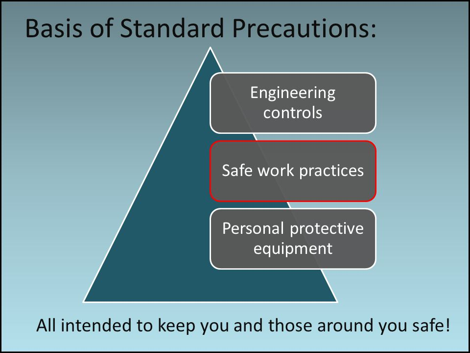 Work associated risks Basis of Standard Precautions: All intended to keep you and those around you safe.