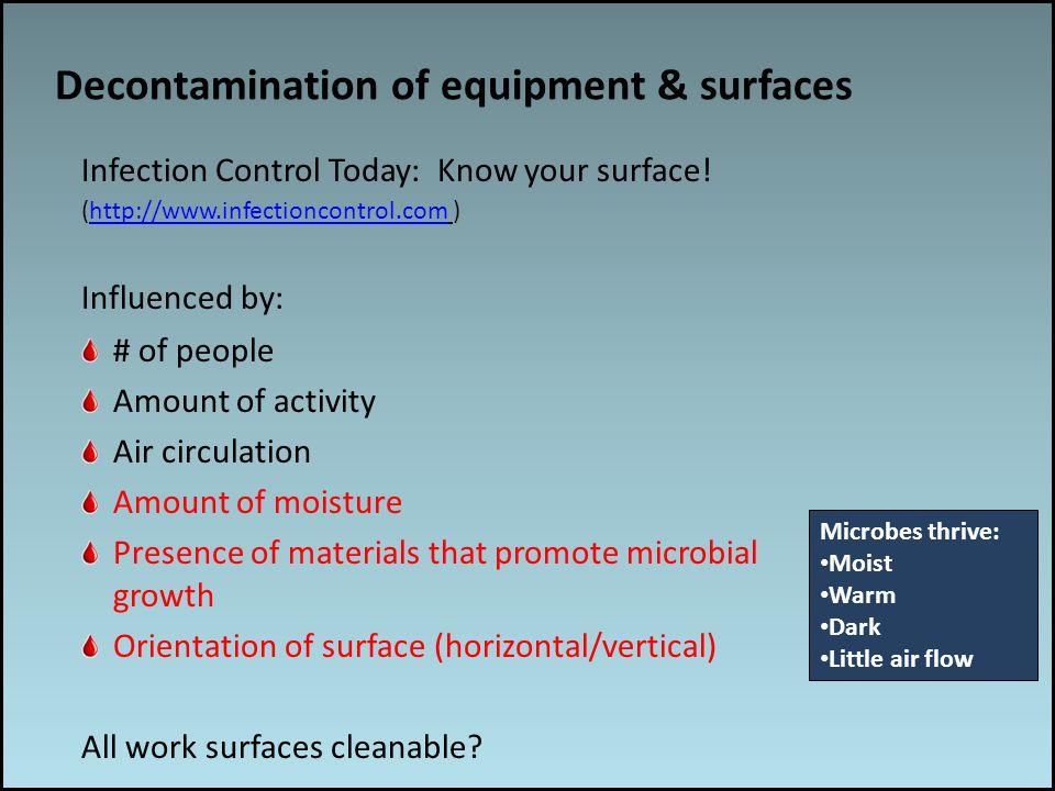 Work associated risks Decontamination of equipment & surfaces Infection Control Today: Know your surface.