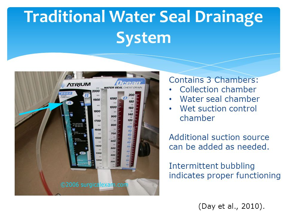 Traditional Water Seal Drainage System Contains 3 Chambers: Collection chamber Water seal chamber Wet suction control chamber Additional suction source can be added as needed.