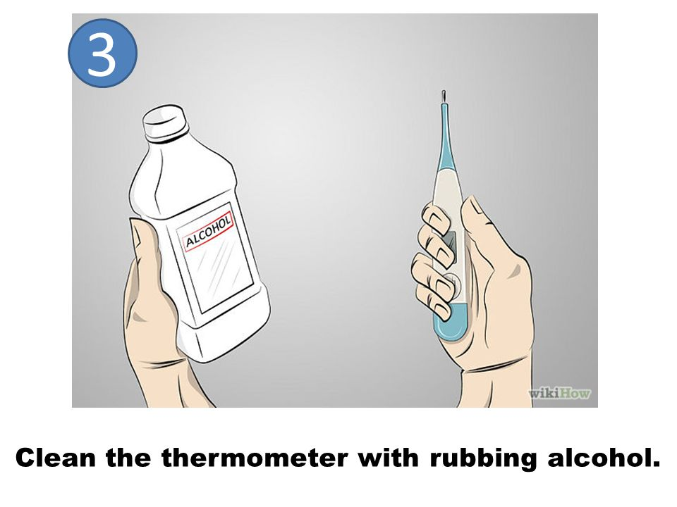 Clean the thermometer with rubbing alcohol. 3