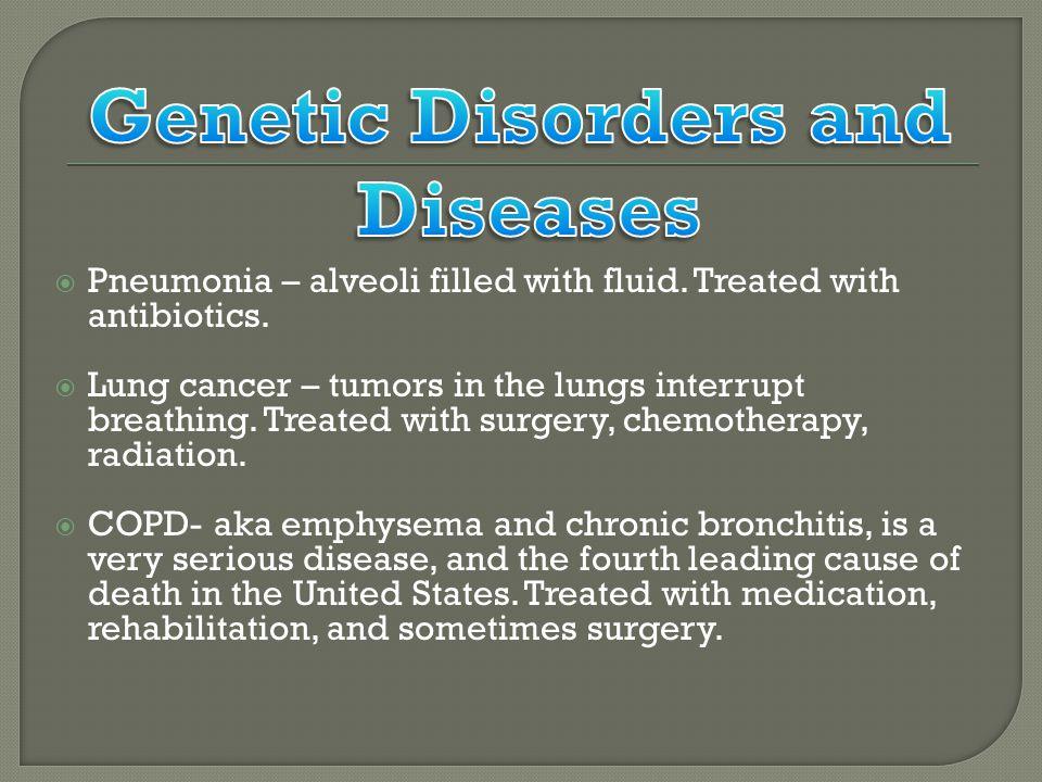  Pneumonia – alveoli filled with fluid. Treated with antibiotics.
