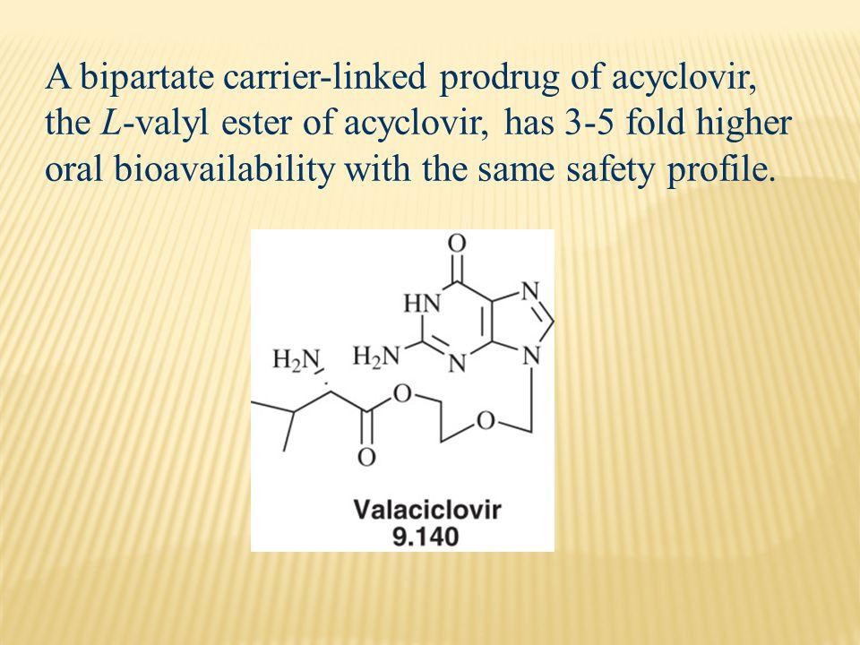 A bipartate carrier-linked prodrug of acyclovir, the L-valyl ester of acyclovir, has 3-5 fold higher oral bioavailability with the same safety profile