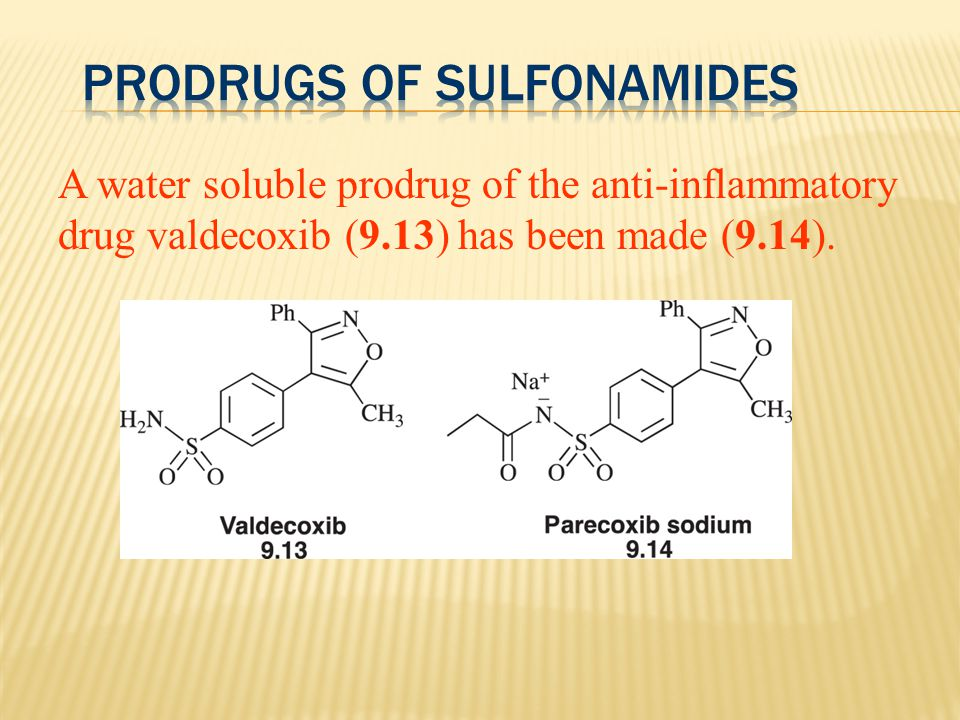 A water soluble prodrug of the anti-inflammatory drug valdecoxib (9.13) has been made (9.14).