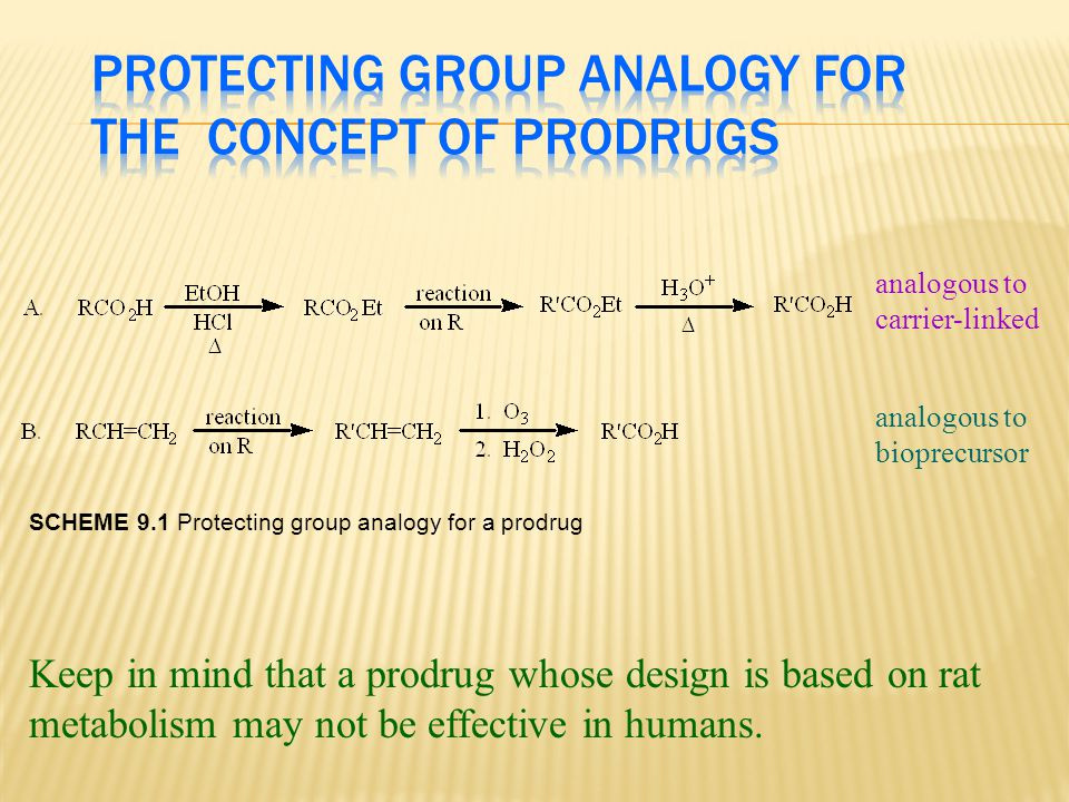 analogous to carrier-linked bioprecursor Keep in mind that a prodrug whose design is based on rat metabolism may not be effective in humans. analogous
