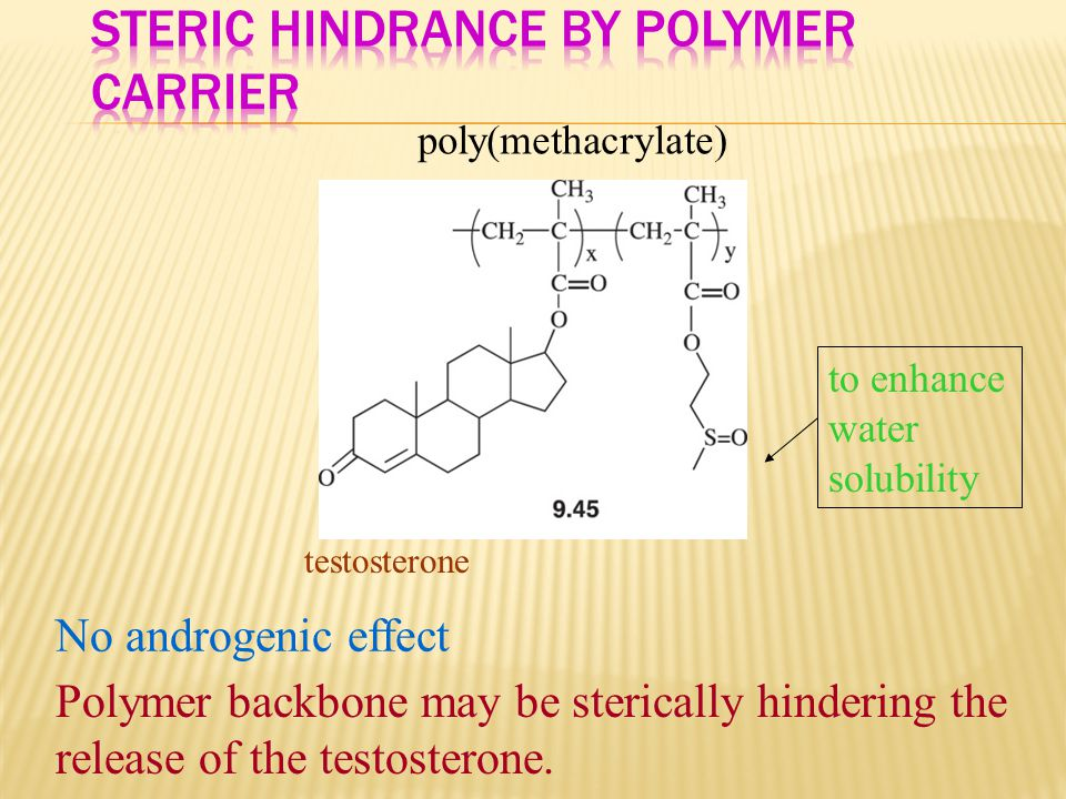poly(methacrylate) to enhance water solubility testosterone No androgenic effect Polymer backbone may be sterically hindering the release of the testo