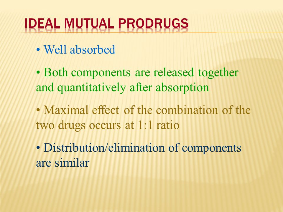 Well absorbed Both components are released together and quantitatively after absorption Maximal effect of the combination of the two drugs occurs at 1