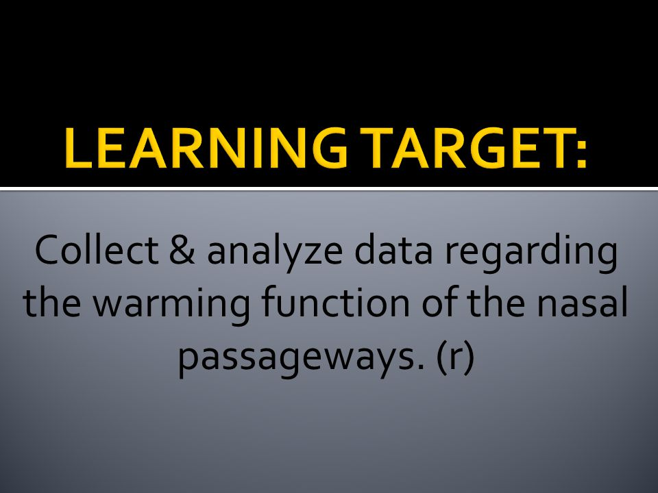 Collect & analyze data regarding the warming function of the nasal passageways. (r)
