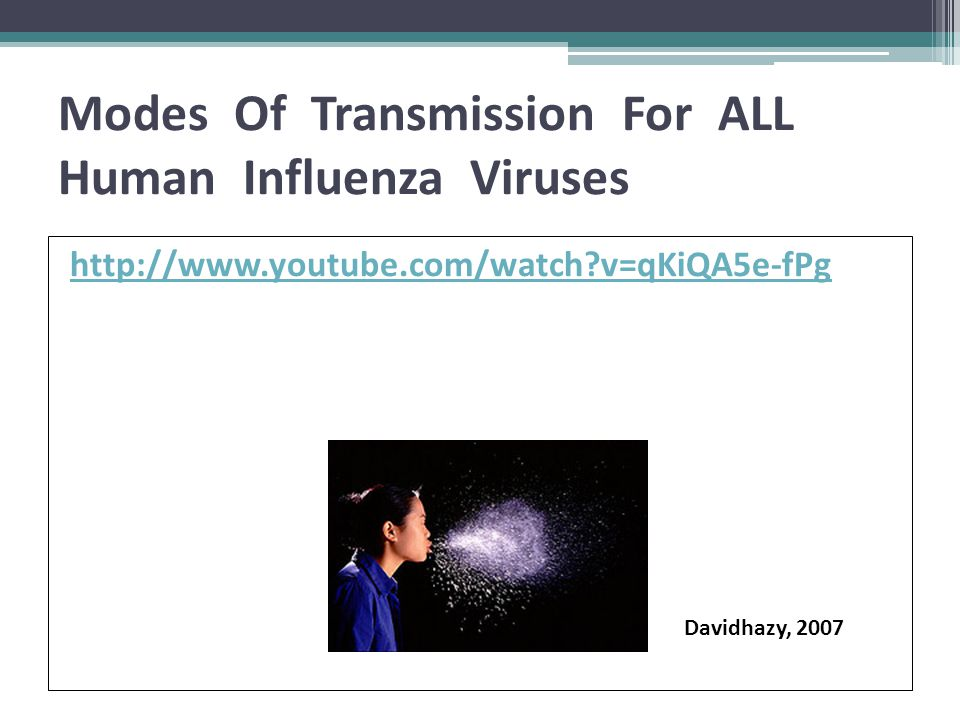 Modes Of Transmission For ALL Human Influenza Viruses http://www.youtube.com/watch?v=qKiQA5e-fPg Davidhazy, 2007