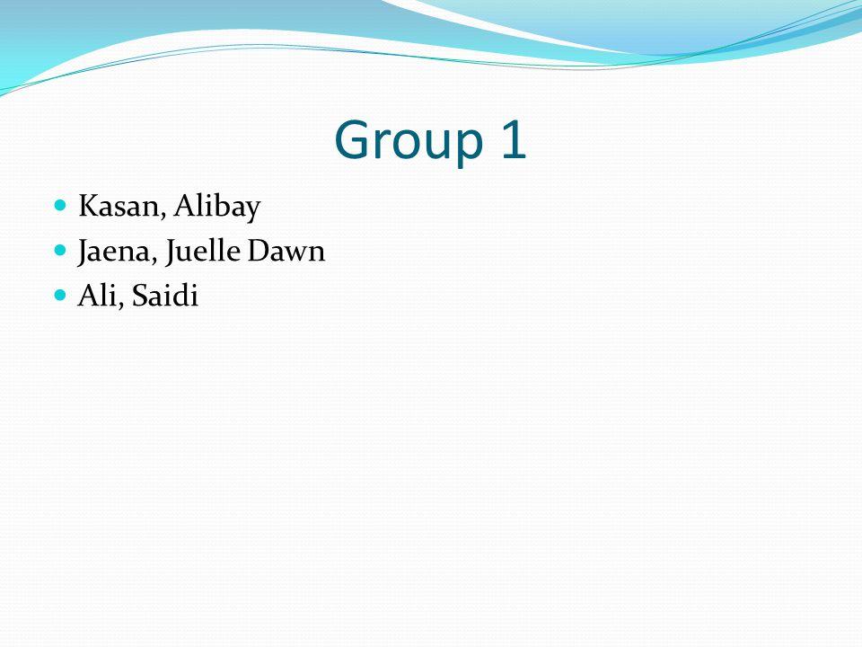Group 1 Kasan, Alibay Jaena, Juelle Dawn Ali, Saidi