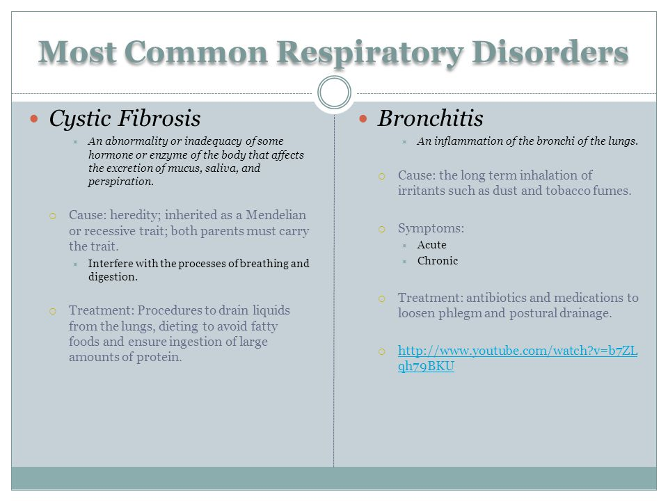 Most Common Respiratory Disorders Cystic Fibrosis  An abnormality or inadequacy of some hormone or enzyme of the body that affects the excretion of mucus, saliva, and perspiration.